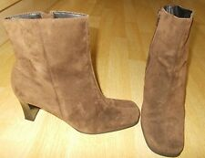 Ladies HUSH PUPPIES Dark Beige Suede Heeled Ankle Boots - Size EU 39