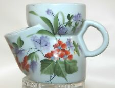 VINTAGE ANTIQUE SHAVING SCUTTLE WITH HAND PAINTED FLORAL DECORATION