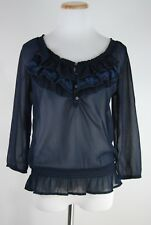 Hollister Navy Sheer Ruffle Floral Top - Size M