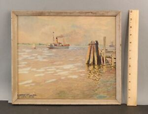 Antique 1926 CHRISTIAN HADENFELDT Maritime Steamship Yatch Watercolor Painting