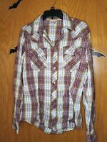 True Religion Western Pearl Snap Shirt Brown Plaid Long Sleeve Mens Size L