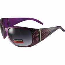 G Vision Motorcycle Glasses Crystal Purple Rhinestone Frames Gradient Smoke Lens