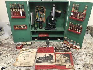 Vintage Gilbert Microscope, Chemistry & Biology Set in Wooden Box