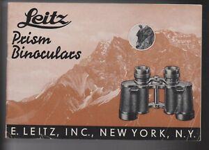 LEICA , LEITZ , LEITZ PRISM BINOCULARS BOOKLET , NOVEMBER 1936