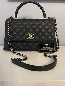 Auth Chanel Coco Medium Flap Bag Black Caviar GHW With Top Handle From 20A