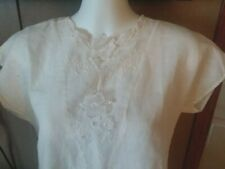 """Vtg George Yazbek for Gordon Peters White Cut Out Embroidery Top 34"""" Bust"""