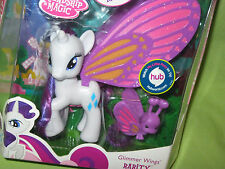 My Little Pony G4 FiM 2011 Brushable RARITY Glimmer Wings &BUTTERFLY Figure NRFP