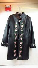 Clifford and Wills Leather Black Floral Embroidered Coat Jacket Size US (W) 14