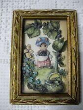 Vintage 3D Framed Picture Bunny Rabbit In Garden Easter Spring Decor