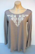 Witchery Ladies Sz M Top Blouse 100% Tencel Beige Embroidery Long Sleeve