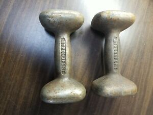"2 Vintage Strongfort Dumbells, Square End, Screw-in-Plug, 1920's (?), 7x3.5"""