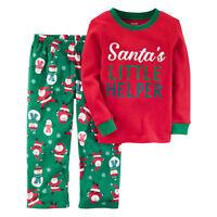 NWT Carter's Christmas 2 piece Fleece Pajama Set Santa's Little Helper Boys
