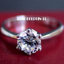 Genuine Solid 9ct White Gold Engagement Wedding Solitaire Ring Simulated Diamond