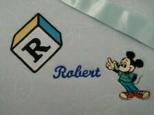 personalized boy / girl  pink or blue bassinet/ cot mickey mouse blankets