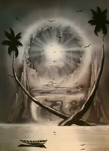 spray paint art space painting,print 35X45 cm,Heart and Soul