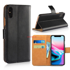 Case for iPhone 7 8 5s Plus XR XS SE Max Cover Real Genuine Leather Flip Wallet