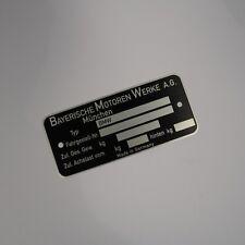 BMW Blank VIN plate, NK E12 E9 E3 E10 E23 2002 Turbo NEW OEM CSi CS Bavaria