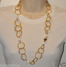 "29"" Technibond White Agate Gemstine Chain Necklace 14K Yellow Gold Gold Silver"