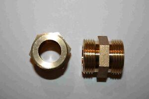 """Doppelnippel Messing, 3/4""""- 1 1/2'' AG , breite Auflagefläche für Wellrohr"""