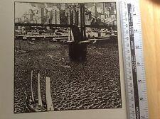 1920s Woodcut Print Brooklyn Bridge by R Ruzicka: New York harbour, ships