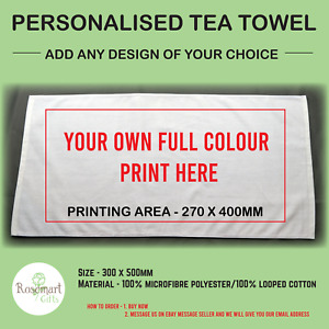 Personalised Any Name & Any Picture Tea Towel - 50cm x 30cm - Brand New - Towel