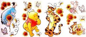 """4 Sheets of 17'""""x10"""" Disney 22 Winnie Pooh Jumbo Wall Stickers Peel Stick Decals"""