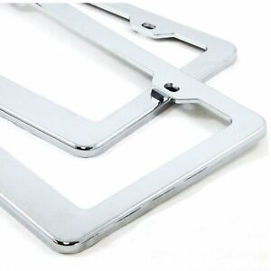 2PCS CHROME STAINLESS LICENSE PLATE FRAME TAG COVER SCREW CAPS /CF-2