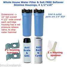 WHOLE HOUSE SLIMLINE DUO WATER FILTER SALT FREE WATER SOFTENER PENTEK CARTRIDGES