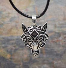 Cara De Plata Antigua PLT lobo Colgante Collar Regalo Para Hombre, Damas Viking Norse
