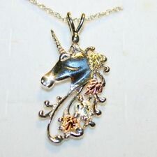 Black Hills Gold Good Luck Unicorn Horse Pendant Necklace 14K over Solid 925 SS