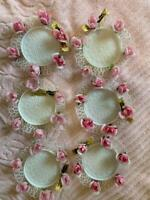 """6 FLORART vintage lacey white coasters PINK roses Hong Kong with tags 5"""""""
