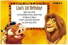 Lion king greeting cards invitations ebay 20 x the lion king personalised birthday party invitations free magnets bookmarktalkfo Images
