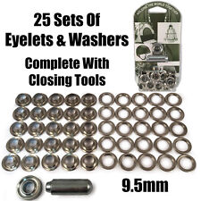 9.5mm Eyelet & Ring Washer Sail Canopy Repair Kit Set Tools Nickel Plated Brass