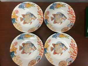 """NEW Williams Sonoma Set of 4 Hawaii Fish Coral Melamine  9"""" Soup Cereal Bowls"""