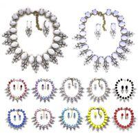 Fashion Women's Jewelry Set Crystal Rhinestone Pendant Necklace Earring Set Gift