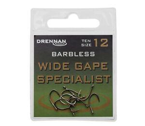 DRENNAN WIDE GAPE SPECIALIST BARBLESS  EYED HOOKS - 10 per pack