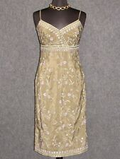 WAREHOUSE Green Silk Floral Embroidered Sheath Dress SZ 8 NEW