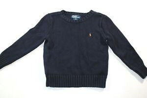 RALPH LAUREN POLO Blue Round Neck Pullover Cable Sweater Boys Sz 4/4T Age 3