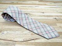 Vintage Tie Madras Plaid Cotton ROOSTER SKinny Narrow Retro Pink Peach