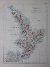 1901 Victorian Carte Nouvelle-Zélande North Island Kawhia Cook Manukau Rodney