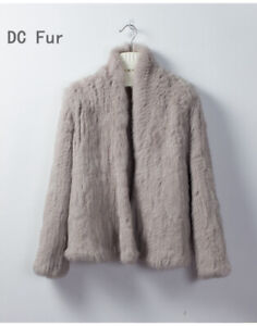 Best Quality Rabbit Fur Thick Knitted Coat Natural Rabbit Fur Jacket Fur outwear