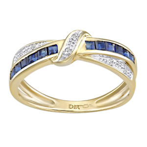 9ct Gold Blue Sapphire & Diamond Crossover Ring size O