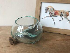 Molten glass over wood Terrarium Tea light floating candles fish bowl vase bowl