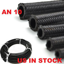 1 - 50 FEET AN 10 NYLON STAINLESS STEEL BRAIDED FUEL OIL LINE HOSE BLACK  FOOT