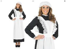 Lady's Medium Victorian Maid Tablier & Mop Cap Fancy Dress Costume Cosplay Larp