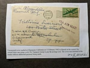 CLAREMONT, CA to HONOLULU, HAWAII 1942 WWII TRANS-PACIFIC Postal History Cover