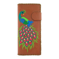Lavishy Divine Peacock Peacock Feather Embroidery Vegan Large Flat Wallet