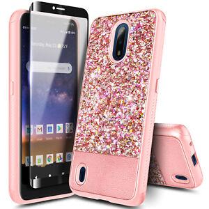 For Nokia C2 Tava/C2 Tennen Case Glitter Bling Cover + Tempered Glass Protector
