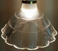 Vintage French Ruffle Rim Clear Glass Shade Waffle Neck Scallop Brass Fitter