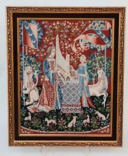 Lady and the Organ Medieval Tapestry Wall Hanging Framed